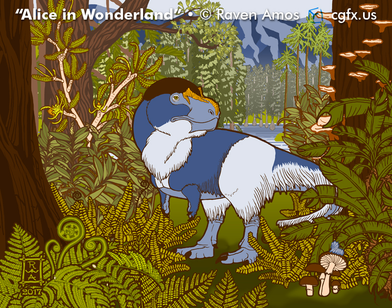 """""""Alice in Wonderland,"""" an illustration of Nanuqsaurus by Raven Amos"""