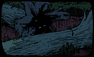"A panel from Mike Keesey's ""Paleocene"" comic, issue 1. Glowing eyes peer from the darkness of a hollowed log."