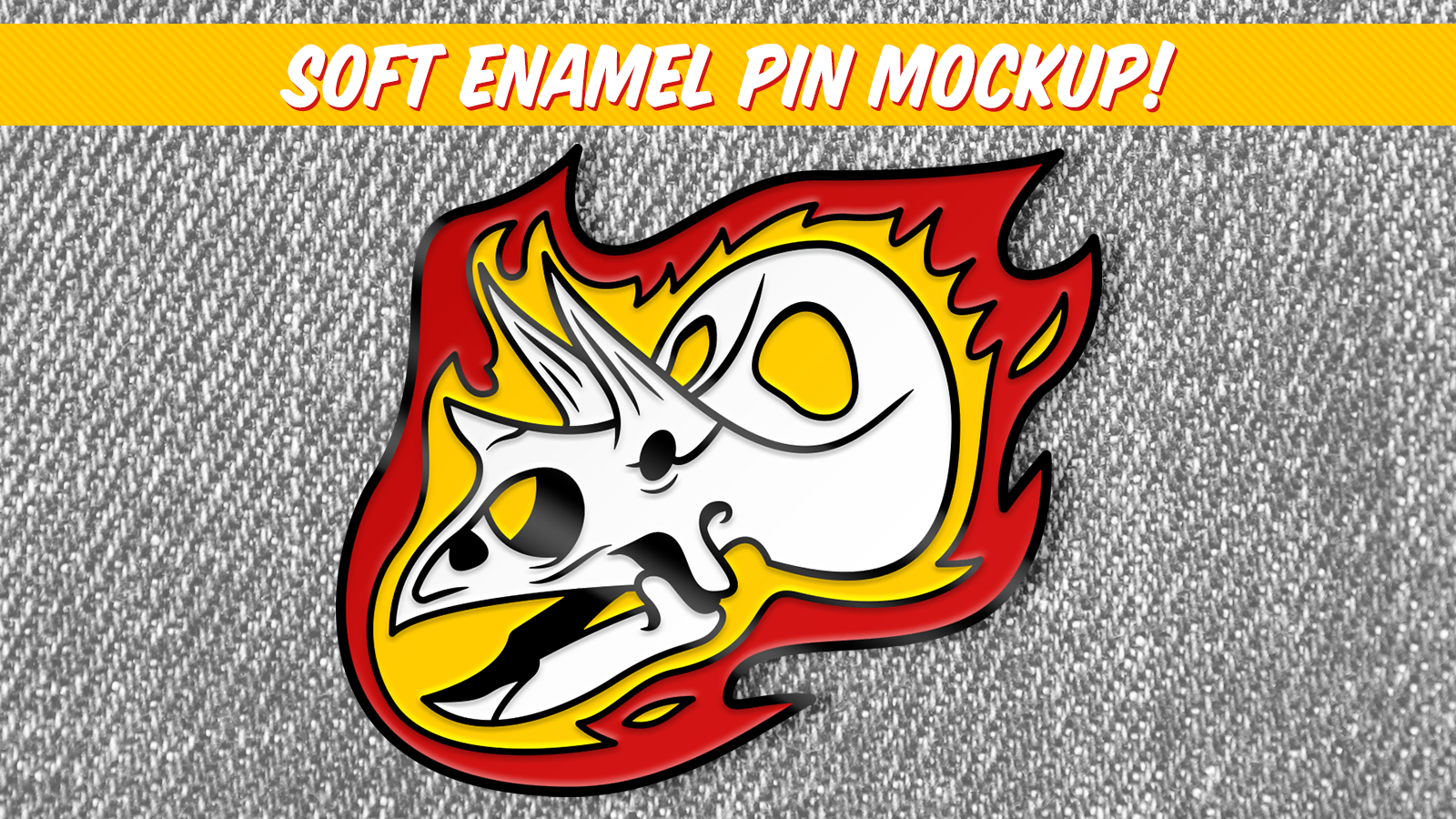 Mockup of a soft enamel pin, showing recessed areas of flat color
