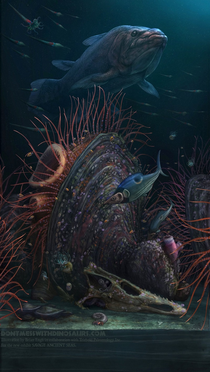 Paleoart of a reef system built around a giant inoceramid clam, pupolated by a wide variety of marine life