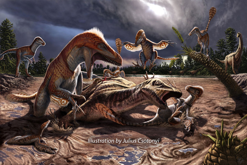 A group of Utahraptor illustrated by Julius Csotonyi for the Utahraptor Project
