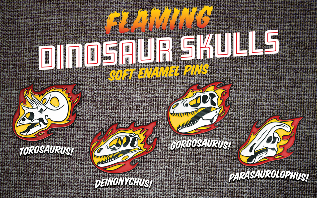 Flaming Dinosaur Skulls advertisement