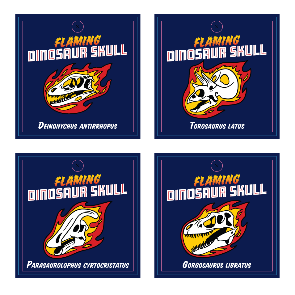 Packaging mockups for the flaming dinosaur skulls enamel pin set
