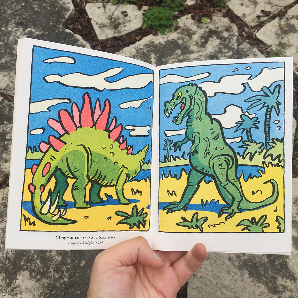 Image from Greer Stother's paleoart zine featuring allosaurus and stegosaurus