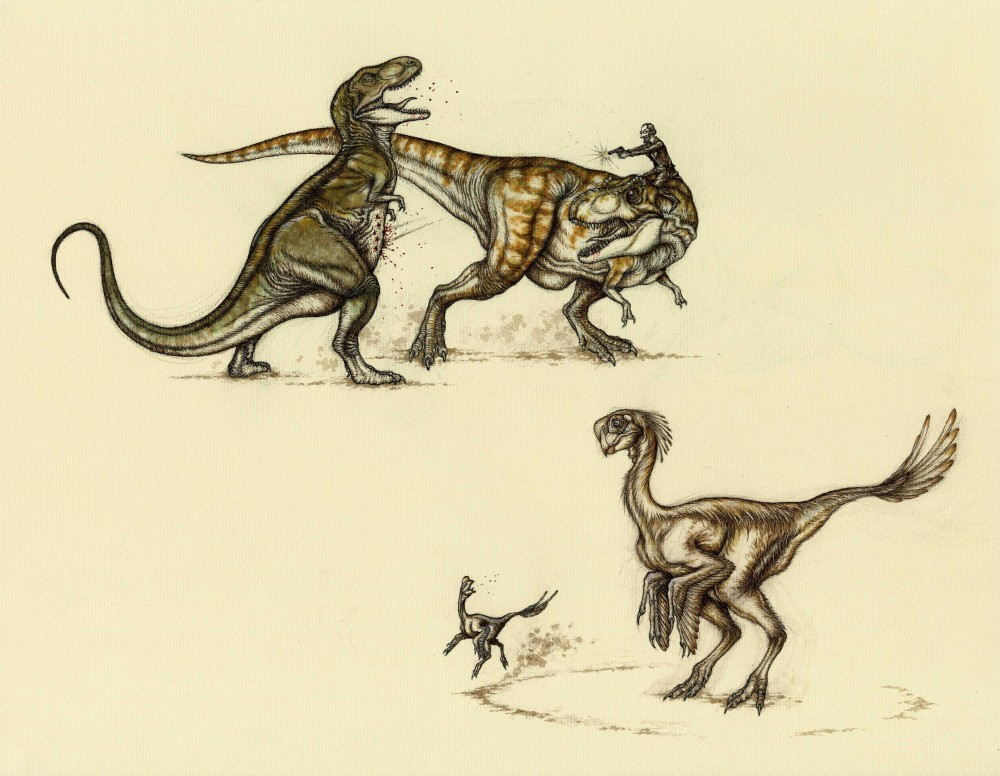 Illustrations 4 and 2 of Natee Himmapaan's dinosaur battle illustrations