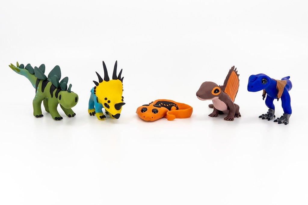 Permia Pets figurines from permia.com: stegosaurus, styracosaurus, diplocaulus, dimetrodon, and tyrannosaurus
