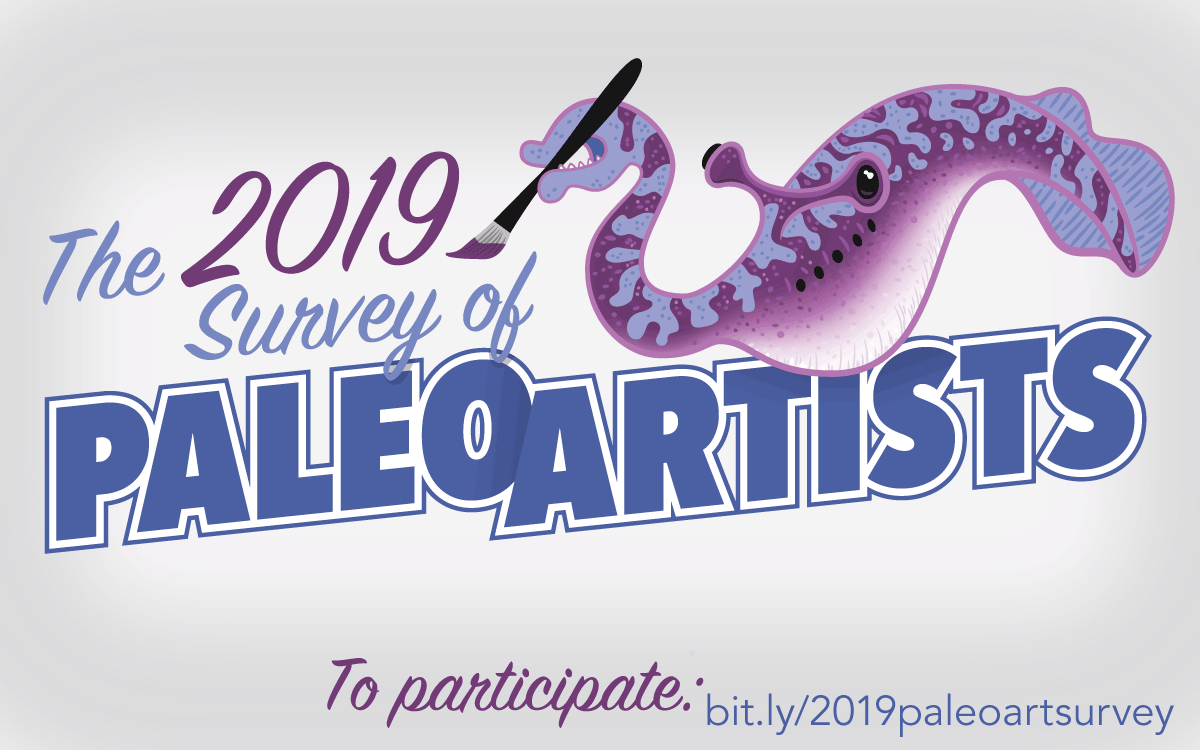 Rectangular graphic promoting the 2019 survey of paleoartists