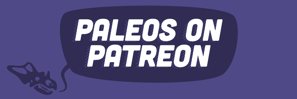 "A chasmosaur skull saying ""Paleos on Patreon"""
