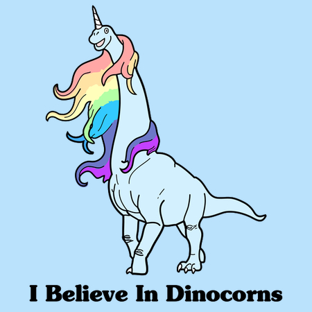 """I believe in dinocorns"" tee design by Raven Amos. Featured an illustrated Brachiosaurus with a horn on its head and flowing, rainbow-colored mane."