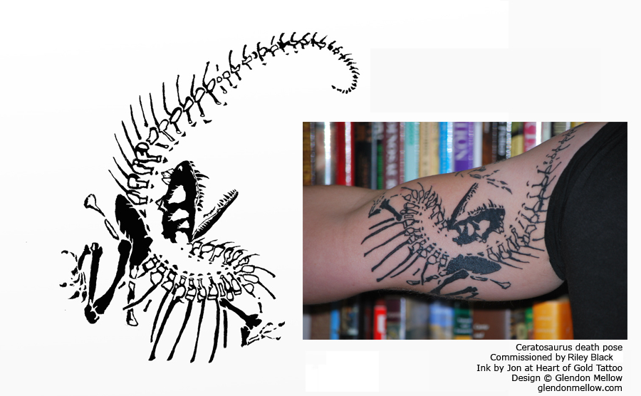 Riley Black showing off Glendon Mellow's Ceratosaurus tattoo art
