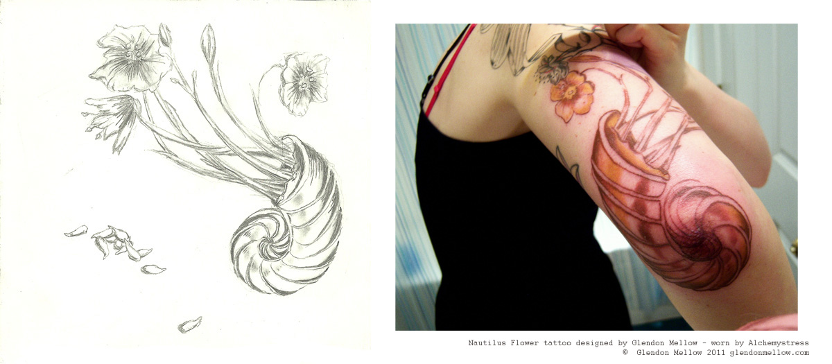 Glendon Mellow's nautilus-flower tattoo, commissioned by Alchemystress