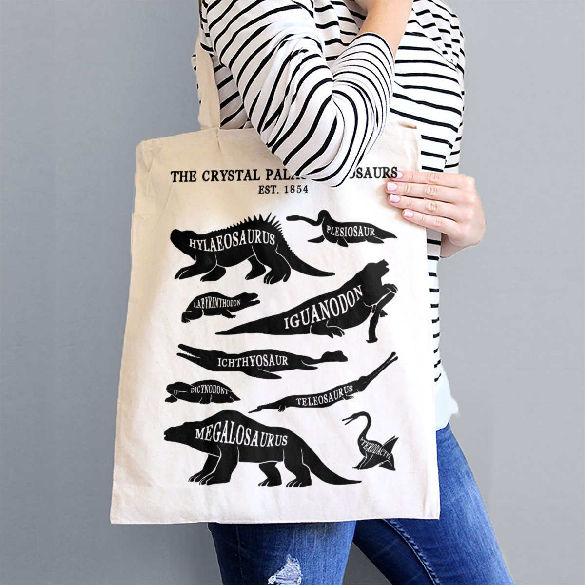 Tote bag featuring black, minimal renderings of the Crystal Palace dinosaurs