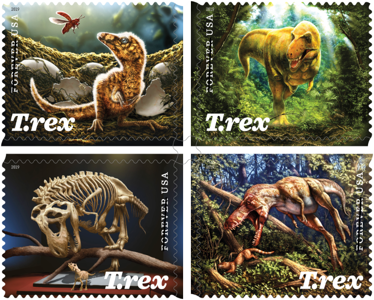 T. rex stamps from the US postal service, featuring the art of Julius Csotonyi