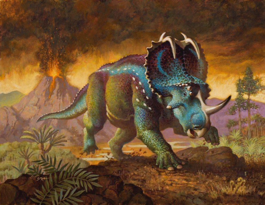 Monoclonius illustration by Ezra Tucker, from the Beasts of the Mesozoic figure box art