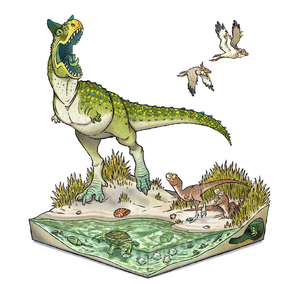 A mother Carnotaurus grumpily roars at two fleeing birds while her chicks watch from below.