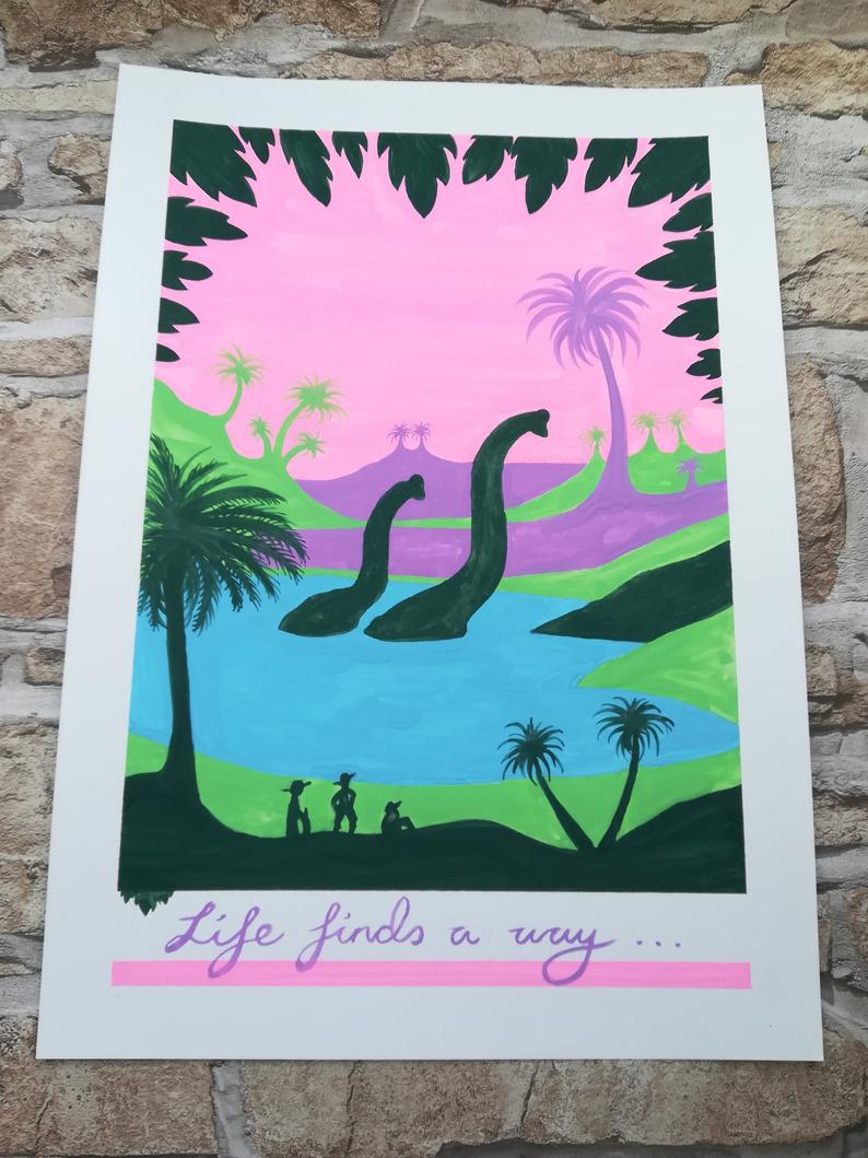 Colorful poster featuring Brachiosaurus pair in silhouette in a lagoon