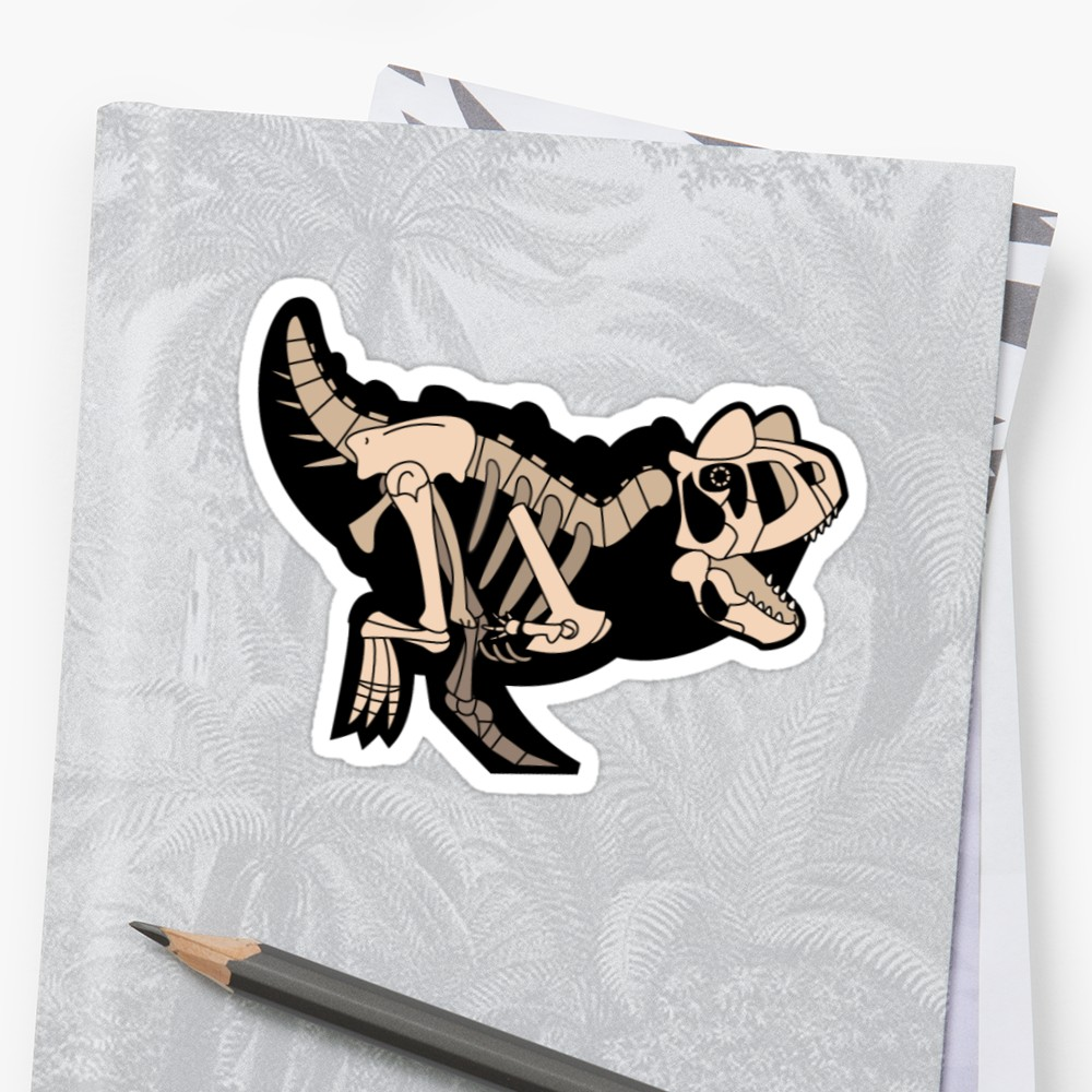 Skeletal Carnotaurus sticker by Joe Raffe