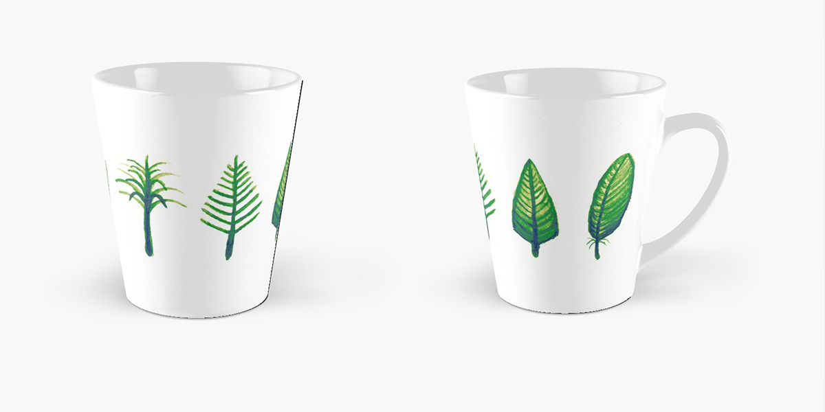 Two views of Angela Connor's featherlution mug, featuring illustrations of different stages of feather evolution