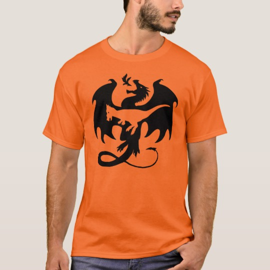 Model wearing an orange t-shirt featuring a silhouette of a dragon containing a second silhouette of the dinosaur Dracorex