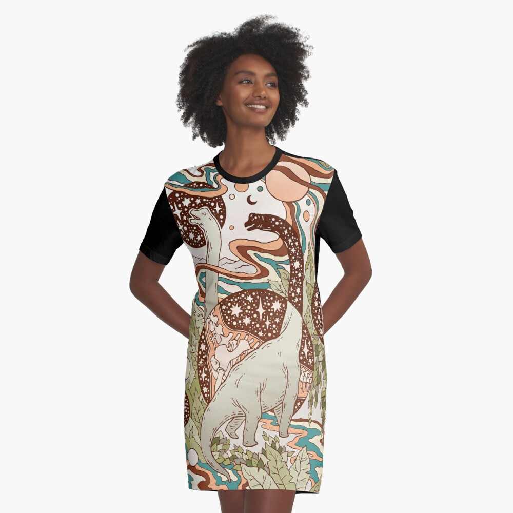 A model wearing Sharon Wegner-Larson's t-shirt dress featuring her cosmic Brachiosaurus artwork.