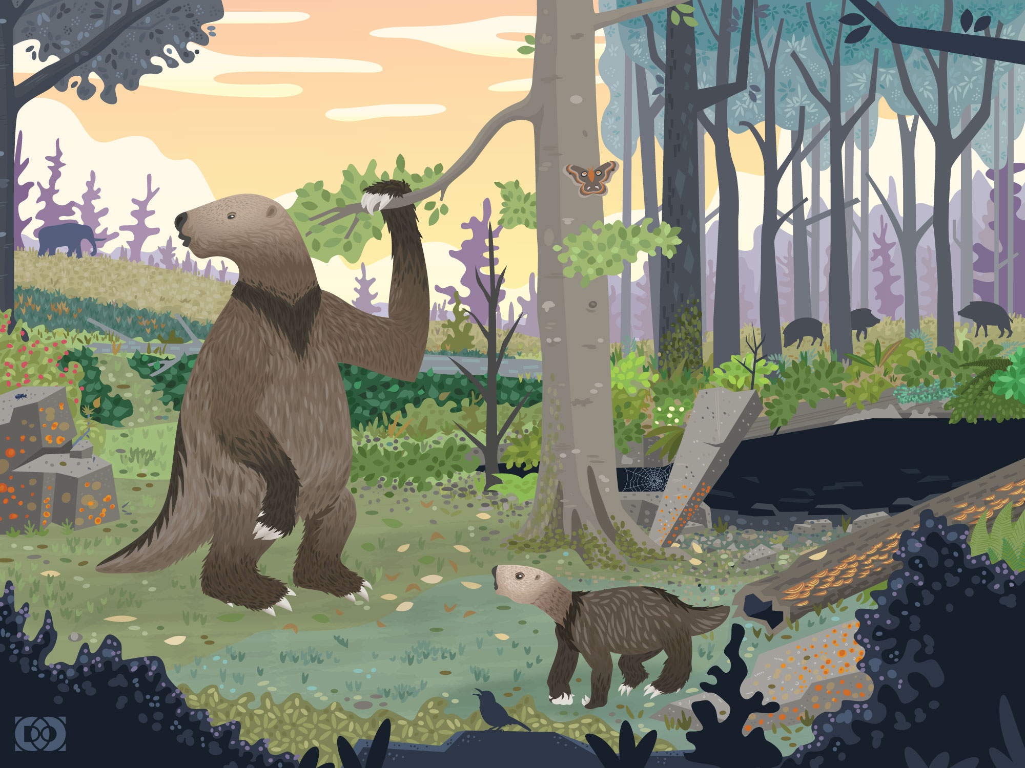 Vector paleoart illustration of Megalonyx jeffersonii in an ice age woodland