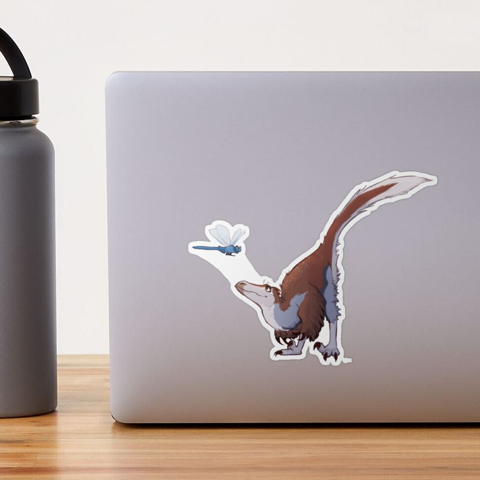 Raptor and dragonfly sticker by Charlotte Hohman