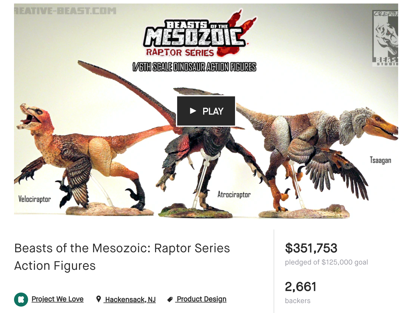 Screenshot of the Beast of the Mesozoic Raptor Series Kickstarter