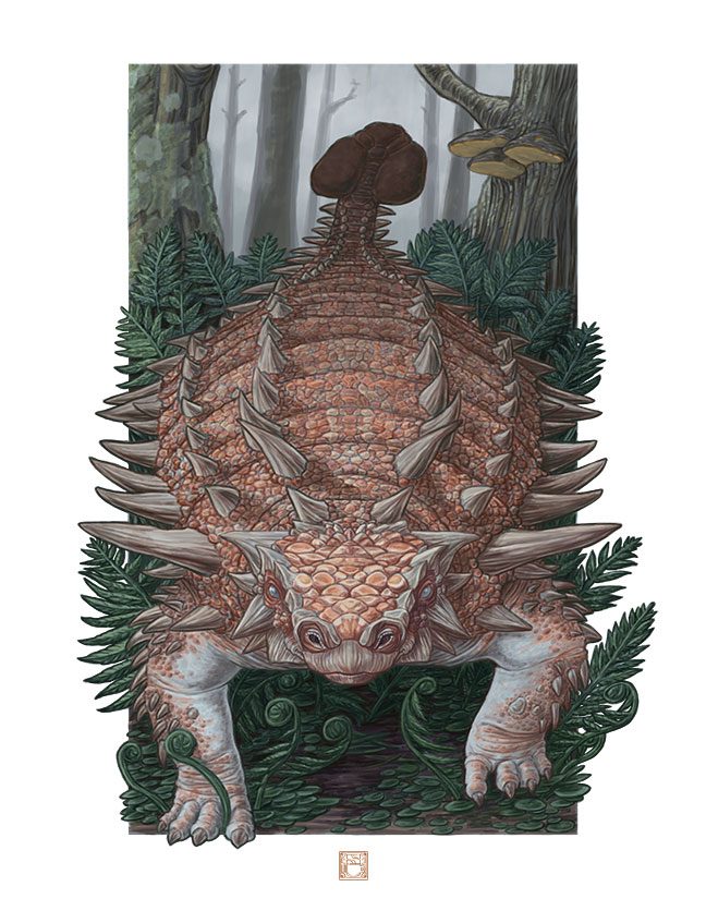 Illustration of Zuul crurivastator in frontal view, walking through a fern-carpeted woodland