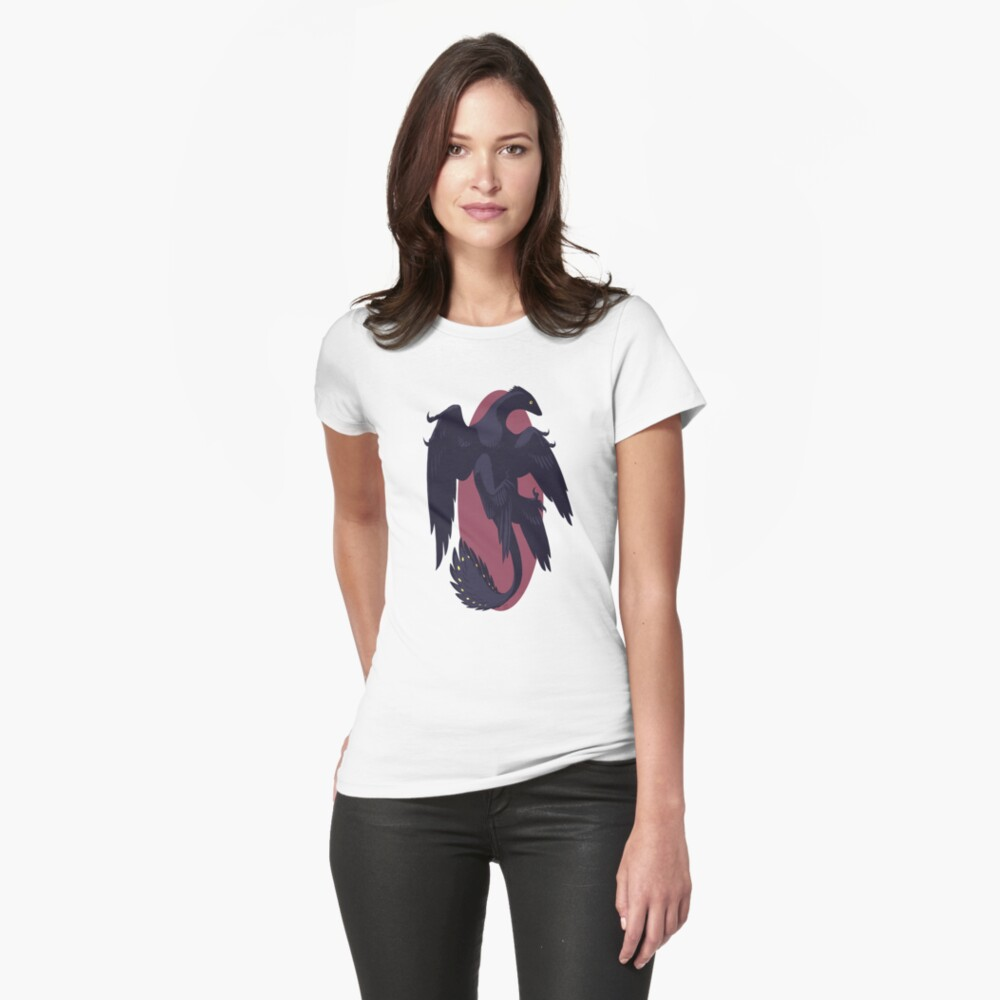 Woman modeling a Microraptor t-shirt