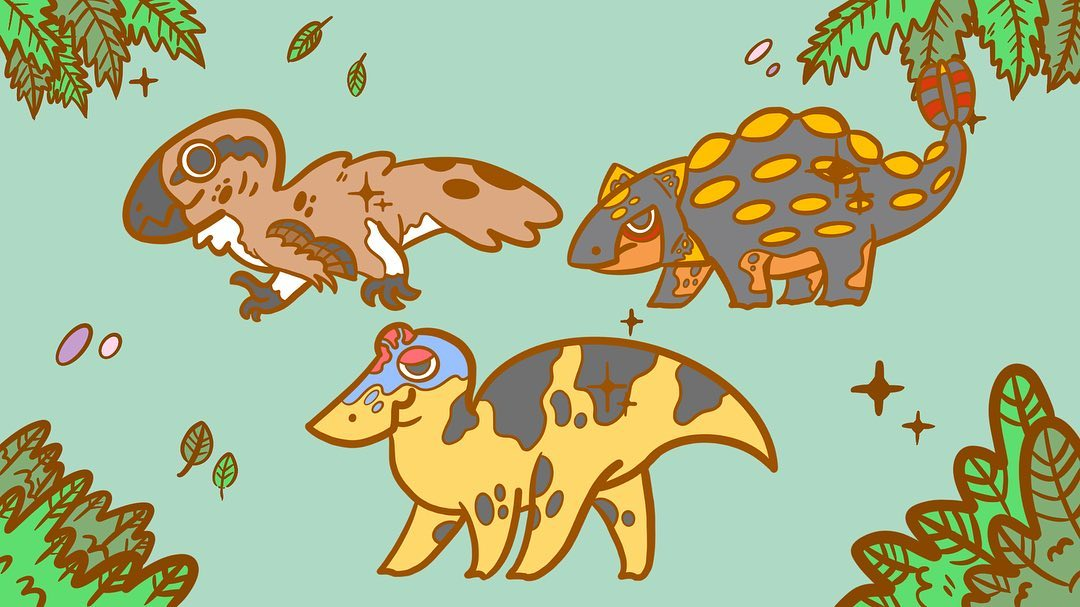 Edmontosaurus, Ankylosaurus, and Dakotaraptor pin designs by Andy Cruz