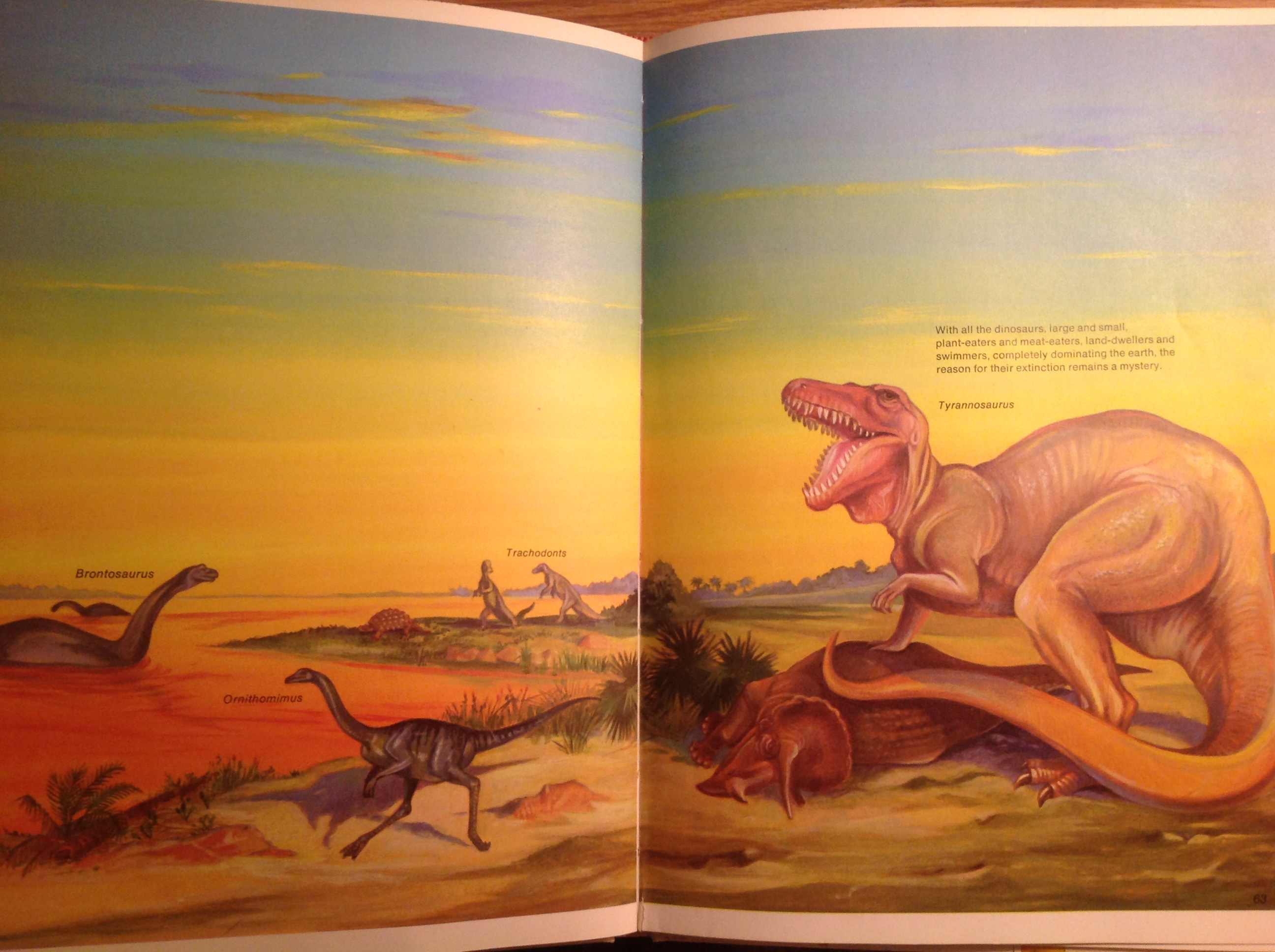 "A spread from ""Then and Now"" featuring a Tyrannosaurus upon a fallen Triceratops with Ornithomimus, Brontosaurus, and Trachodons."