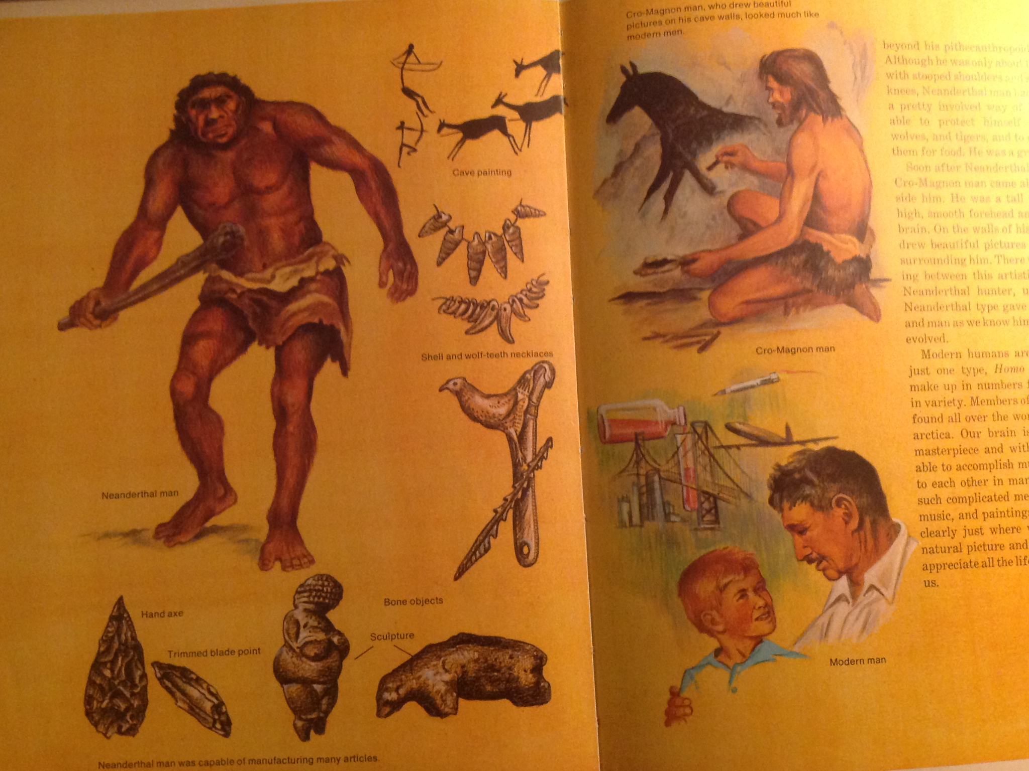 "Spread from ""Then and Now"" featuring illustrations of cavemen, rock art, and prehistoric artifacts."