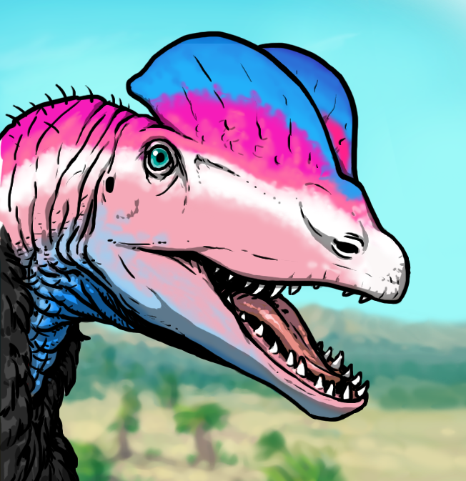 Trans pride flag colored Dilohopsaurus illustration