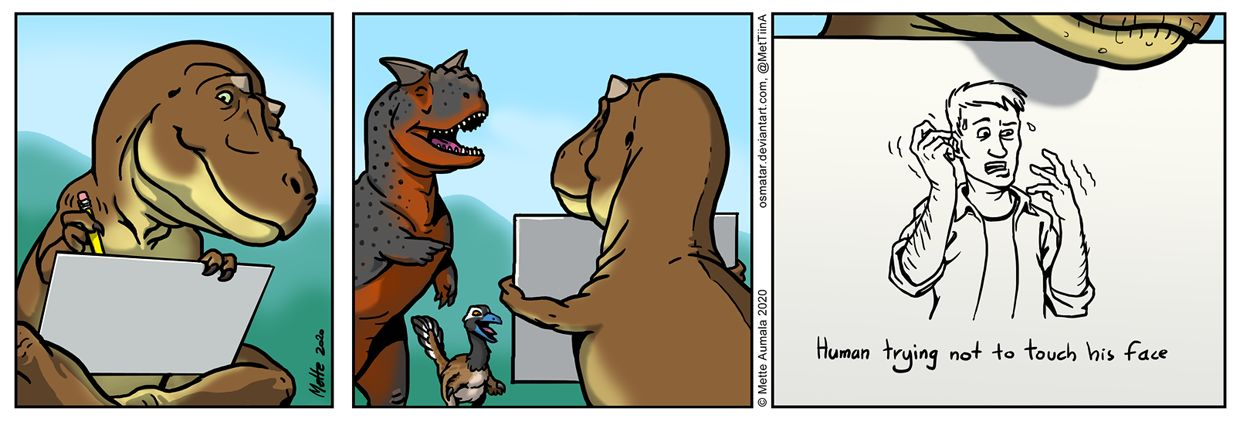 A comic in which T. rex has drawn a human trying not to touch his own face, while Carnotaurus and a dromaeosaur laugh.