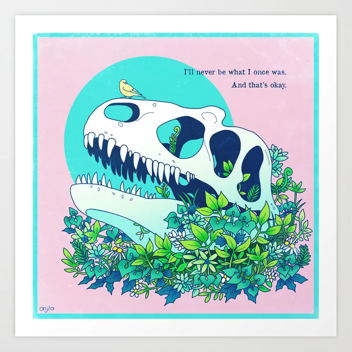 Illustration of a dinosaur skull nestled in plants with a songbird perched on top.