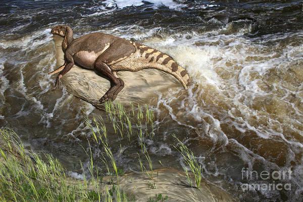 Julius Csotonyi illustration of a deceased brachylophosaurus duckbill dinosaur on the shore of a river.