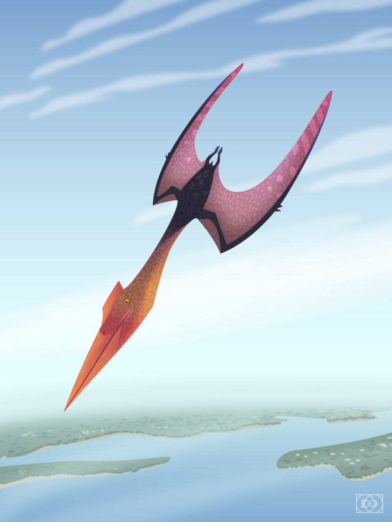 An illustration of Quetzalcoatlus diving from high above the earth.