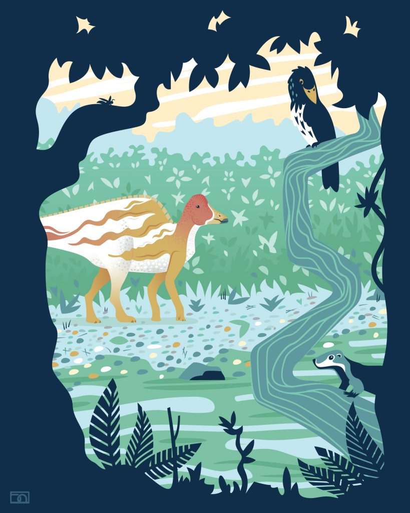 A Hypacrosaurus walks next to a stream while an enantornithe and didelphodon sit on a large vine in the foreground