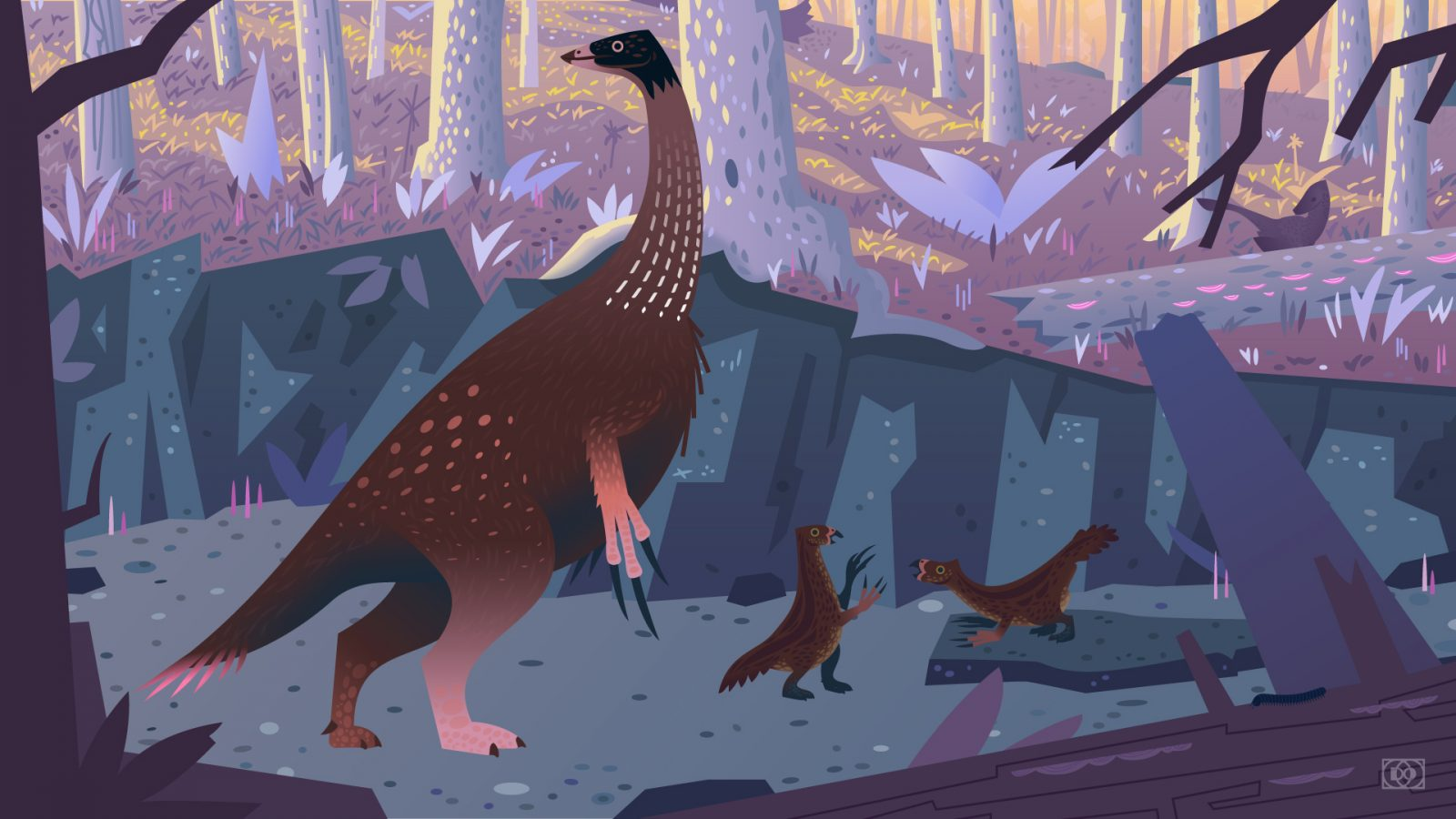 An illustration of a mother Therizinosaurus and her chicks walking through a dry forest creekbed while an Adasaurus watches in the distance.