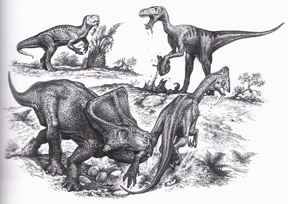Mongolian dinosaurs by John Sibbick